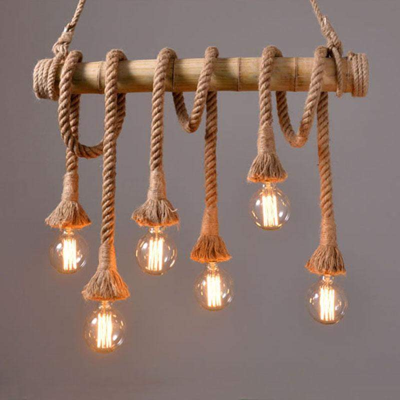 Vintage Rope and Bamboo Pendant Lights in Country Loft Nautical Style-6 Heads-Distinct Designs (London) Ltd