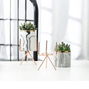 3 Set White Marble effect Ceramic Flower Pots with Criscross Iron Rack Stand-Distinct Designs (London) Ltd