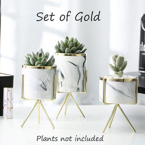 3 Set White Marble effect Ceramic Flower Pots with Criscross Iron Rack Stand-Gold-Distinct Designs (London) Ltd