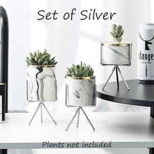 3 Set White Marble effect Ceramic Flower Pots with Criscross Iron Rack Stand-Silver-Distinct Designs (London) Ltd