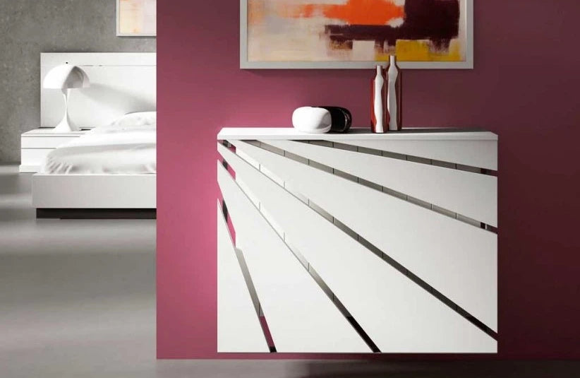 Contemporary Floating White Radiator Heater Cover DIAGONAL Cabinet Box Design with Shelf Ref RCGE240