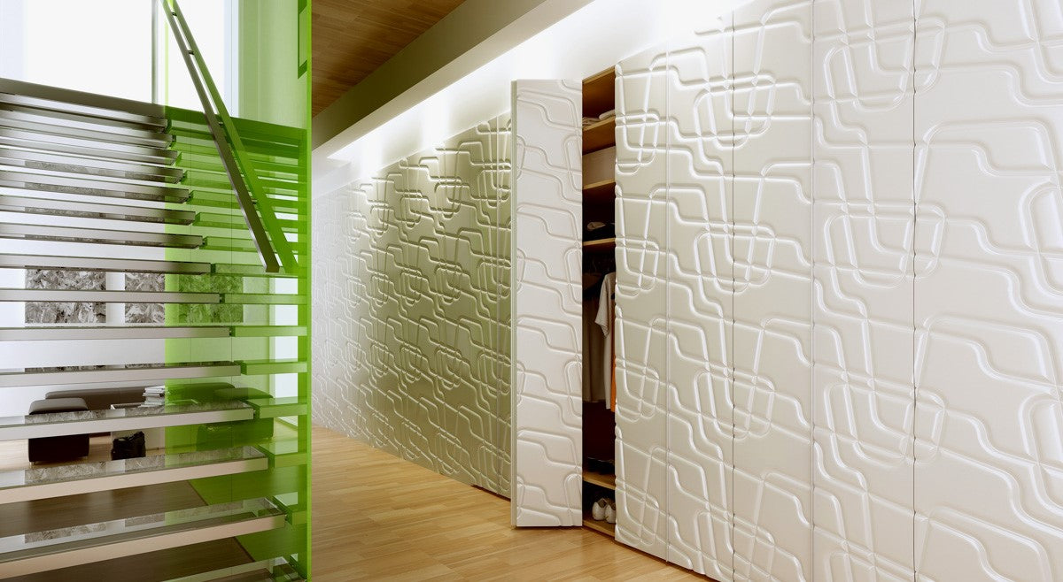Bedroom Sliding Hinged Doors with Pattern Continuation 3D Textured MAZE white