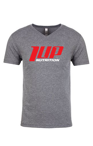 1UP Nutrition Men's Gray V-Neck