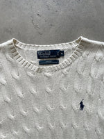 Ralph Lauren Polo 90s Silk Light Cable Knitted Mint Sweat - fits XL