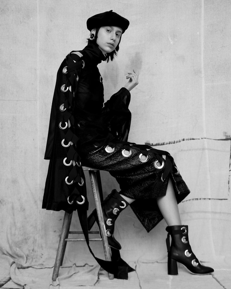 Alycia Black Boots In Material Magazine
