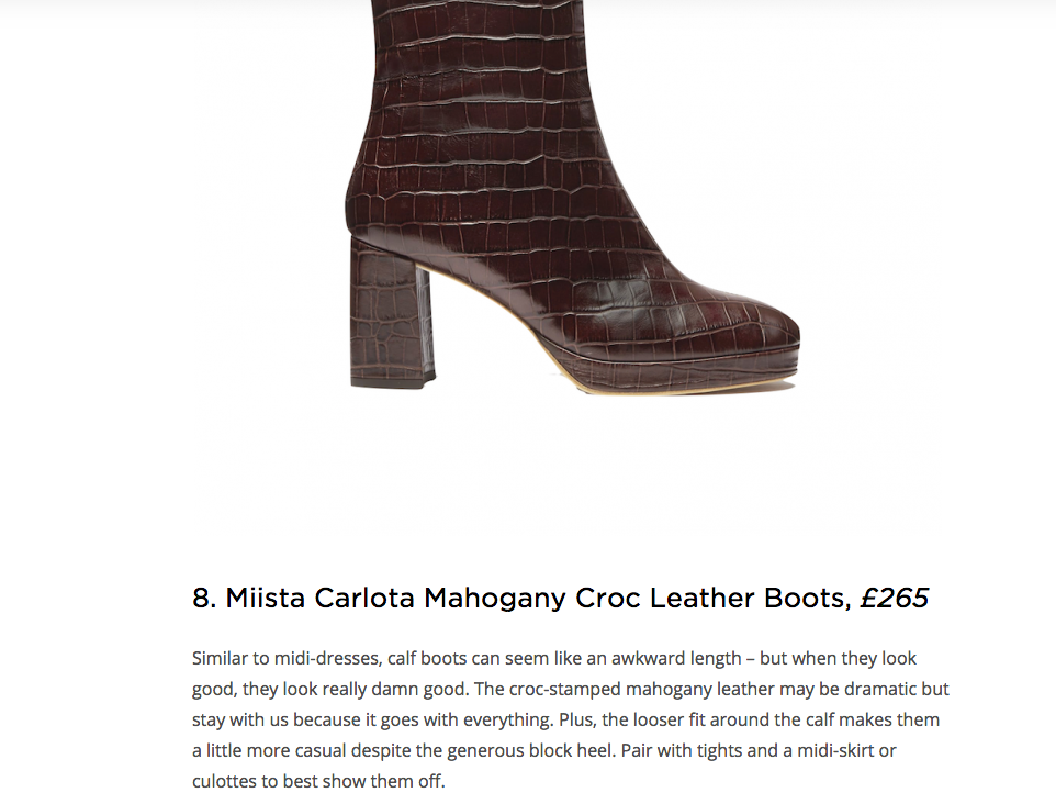 Carlota Mahogany Croc featured in Suitcase Mag