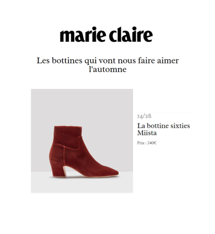 Miista Lorelle boots featured in Marie Claire