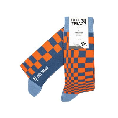 Heel Tread - Pasha Orange/Navy Socks