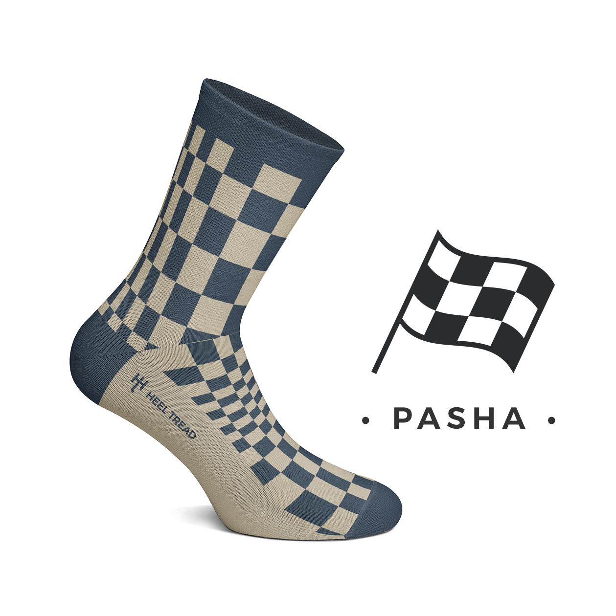 Heel Tread - Pasha Navy/Tan Socks