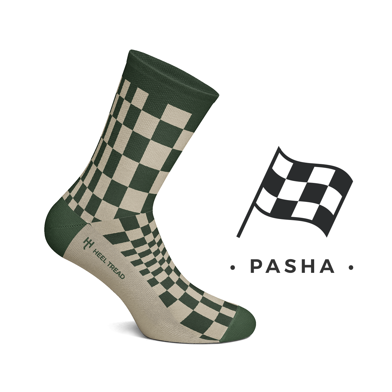 Heel Tread - Pasha Olive/Tan Socks