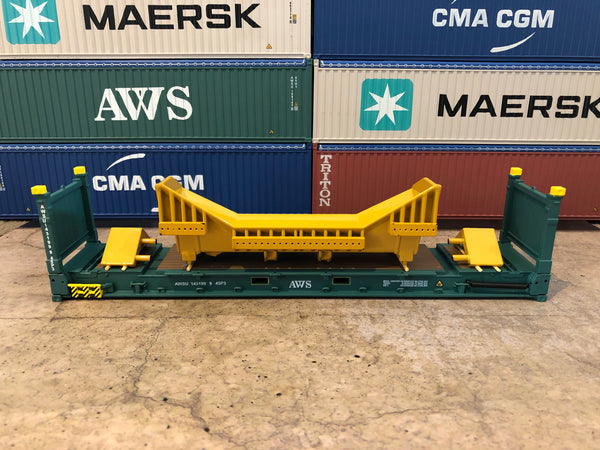 AWS 40' 9'6 Flat Rack. 1/50 scale diecast model.
