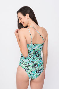 KAI Green Abstract Print  One Shoulder Embellished Swimsuit