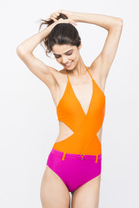 KAI Belted Wrap Swimsuit
