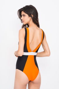 KAI  Orange Black White Colour Block Swimsuit