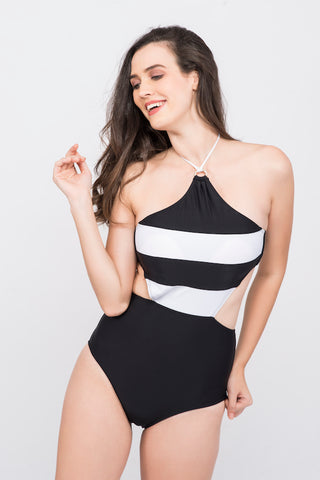 KAI Monochrome Halter Swimsuit