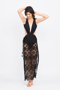 KAI Black Crochet Long Rivet Tie up   Criss cross Skirt