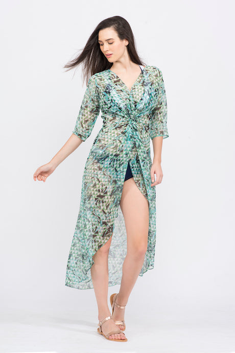 KAI Green Abstract Print Twist Coverup