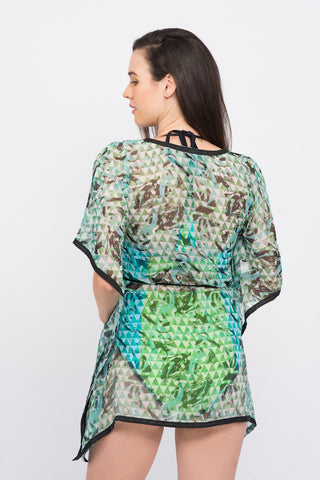 KAI Green Abstract Print V Neck Belted   Kaftaan