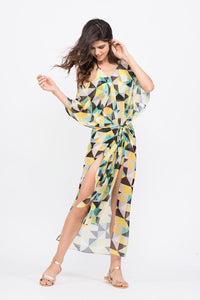 KAI Yellow Geometric Print Stylish Seamless  Kaftaan