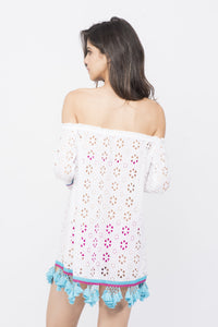 KAI Eyelet  Off Shoulder Tassel  Beach  Dress
