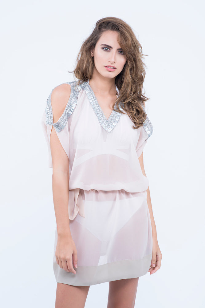 KAI Pink Cold Shoulder  Embellished Kaftaan