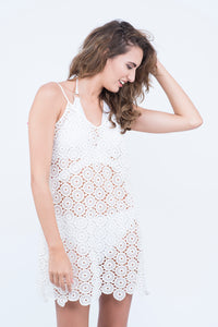 0fb553ff0d KAI white Crochet Low Back Tassel Cover up