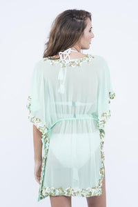 KAI Sea Green  Embroidered Kaftaan