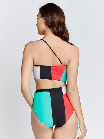 KAI  Color Block One Shoulder Cut out Swimsuit