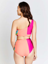KAI One Shoulder Color Mesh Swimsuit