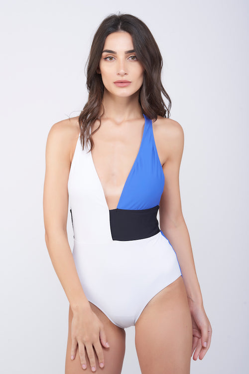 KAI Tri-Color  Halter Swimsuit