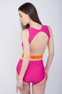 KAI Drape Belted Contrast Swimsuit