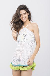 White Hakoba Tassel Beach Coverup