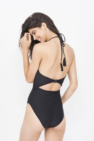 KAI Black Embelished High Waisted  Halter Monokini
