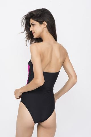 KAI Pink Black White Colour Block Bandeau Swimsuit