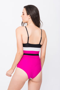 KAI Colorblock Mock Wrap Swimsuit