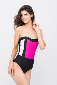 Kai Tri Colour Bandeau Swimsuit