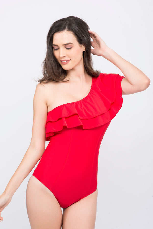 Kai Ruffle Senora  One Shoulder Swimsuit