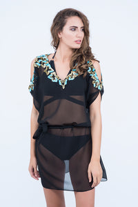 KAI Cold Shoulder Embellished Kaftaan