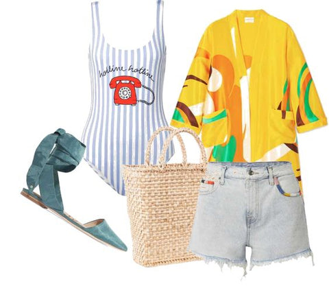 Basket bag outfit for the beach