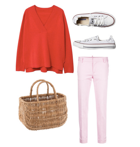 Pink and red outfit with FONOTT basket bag