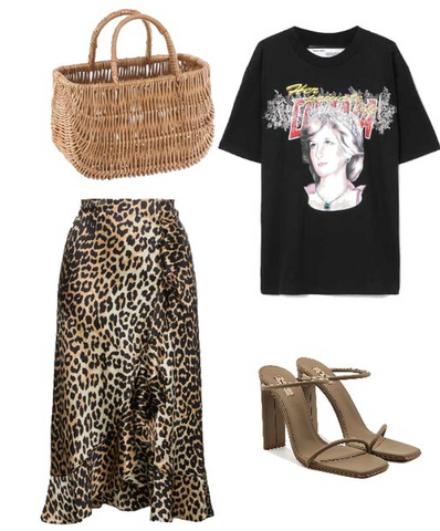 Audrey basket bag outfit with leopard skirt