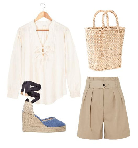 summer outfit with julie basket bag irene shirt espadrilles and shorts