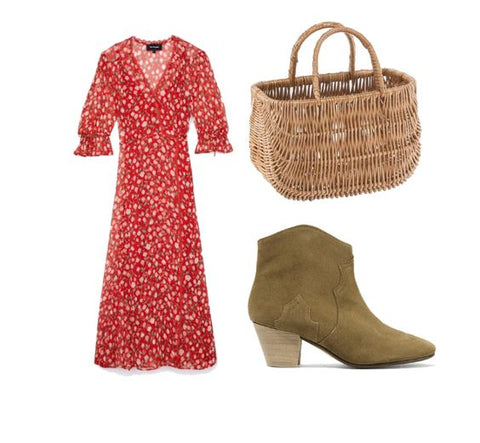 Basket outfit with FONOTT bag and ankle boots