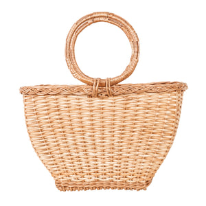 Basket bag with round handles