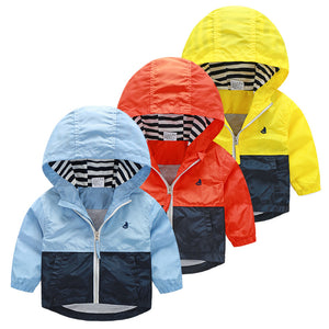 Hooded Windbreaker Jacket in Blue, Red and Yellow