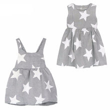 Striped Star Backless Summer Style Baby Girls Dress Front & Back