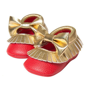 First Walker Baby Girls Shoes in Red and Gold