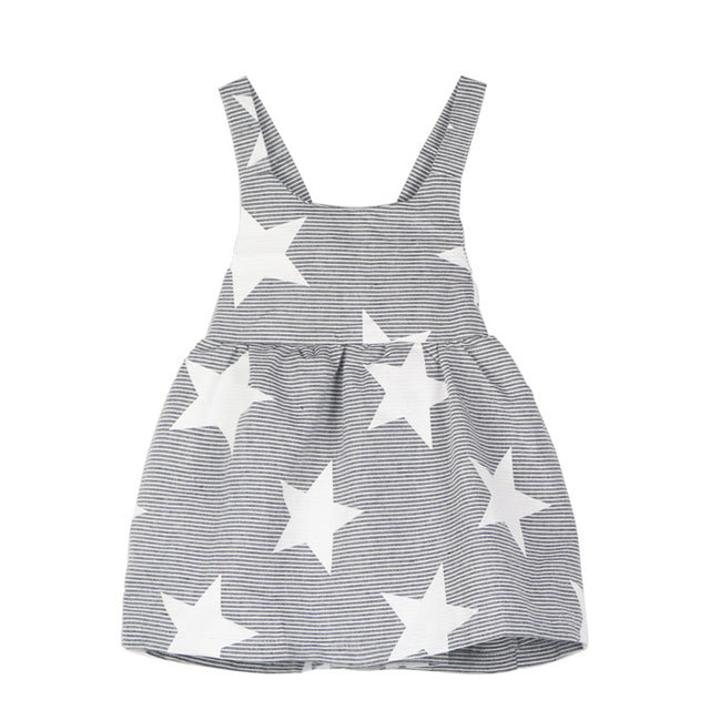 Striped Star Backless Summer Style Baby Girls Dress front