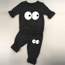 Two Piece Monster Suit Set with Big Eyes in Black