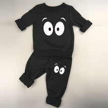 Two Piece Monster Suit Set with Cross Eyes in Black